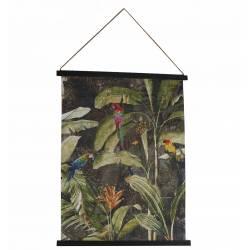Toile Suspendue Perroquet Décoration Murale Tropicale Bois 1,8x65x85cm