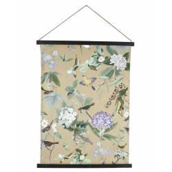 Décoration Murale en Tissus Imprimé Toile Décorative Motifs Fleurs et Oiseaux 1,8x65x85cm