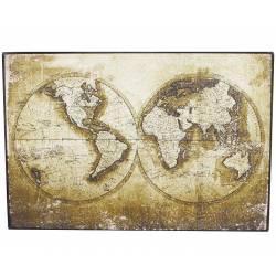 Tableau Mappemonde Toile Imprimée Cadre Bois Noir Représentation Planisphère Murale Vintage Sépia 3x51x76cm