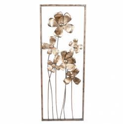 Décoration Murale Fleurs Cadre Rectangle Décoratif Ajouré en Métal Couleur Laiton 4,4x27,9x73,7cm