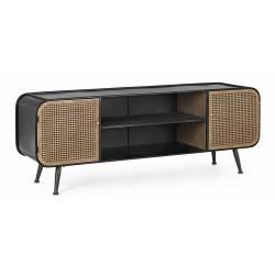 Meuble TV 2 Volets Elton Console de Salon pour Télé en Acier Noir et Marron Effet Cannage en Rotin 39x55x150cm