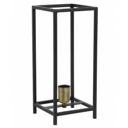 Lampe de Table MARLAY Luminaire d'Appoint Tendance à Poser de Bureau de Chevet Métal Noir Mat et Bronze 16x16x38cm