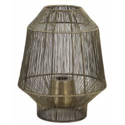 Lampe Ethnique GRUARO Tendance à Poser Luminaire d'Appoint Lanterne à Poser en Métal Couleur Bronze Antique 31x36cm