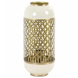 Lampe de Table ROHAT Luminaire d'Appoint en Métal Blanc Antique et Doré 17x17x37cm