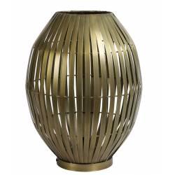 Lampe de Table Kyomi Bronze Antique Eclairage Luminaire d'Appoint en Métal 34x34x38cm
