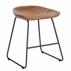 Tabouret de Table Hinsk Assise Siège Chaise Design en Métal Noir et Bois Naturel 41x41x52cm