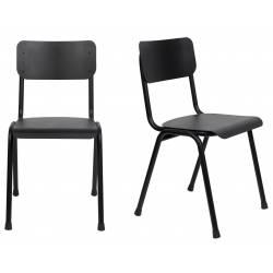 Lot de 2 Chaises Back To School Indoor Outdoor Noir Zuiver Assise en Aluminium Thermolaqué 43x49x82,5cm