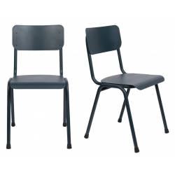 Lot de 2 Chaises Back To School Indoor Outdoor Gris Bleu Zuiver Assise en Aluminium Thermolaqué 43x49x82,5cm