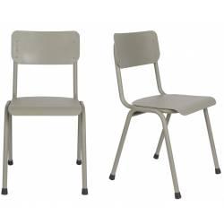 Lot de 2 Chaises Back To School Indoor Outdoor Gris Zuiver Assise en Aluminium Thermolaqué 43x49x82,5cm