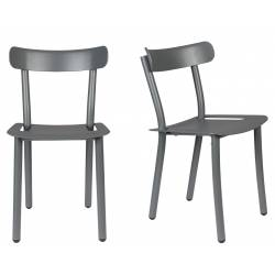 Lot de 2 Chaises Friday Noires Zuiver Sièges Outdoor Indoor en Aluminium 44x50x79cm