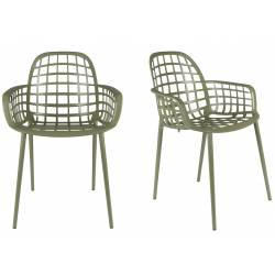 Lot de 2 Fauteuils Albert Kuip Garden Zuiver Siège Intérieur Extérieur en Aluminium Noir 59,5x59,5x82,5cm