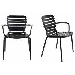 Lot de 2 Fauteuils Vondel Noir Zuiver Sièges Outdoor Design en Aluminium 58,2x64,7x82,5cm