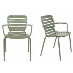 Lot de 2 Fauteuils Vondel Vert Zuiver Sièges Outdoor Design en Aluminium 58,2x64,7x82,5cm