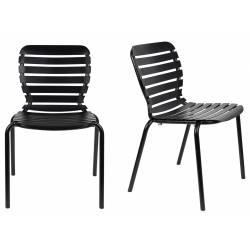 Lot de 2 Chaises Vondel Noir Zuiver Assises Outdoor Design en Aluminium 55x58,2x82,5cm