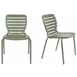 Lot de 2 Chaises Vondel Vert Zuiver Assises Outdoor Design en Aluminium 55x58,2x82,5cm