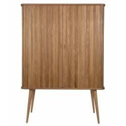 Buffet High Wood Zuiver 2 portes 2 tiroirs Chêne Massif Blanc Brillant 40x71,5x160cm