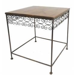Table Basse Console d'Appoint en Fer et Bois Desserte Bout de Canapé Marron 61x61x64cm