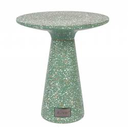 Table Ronde Victoria Guéridon Table d'Appoint Zuiver Terrazzo Vert 41x41x47cm