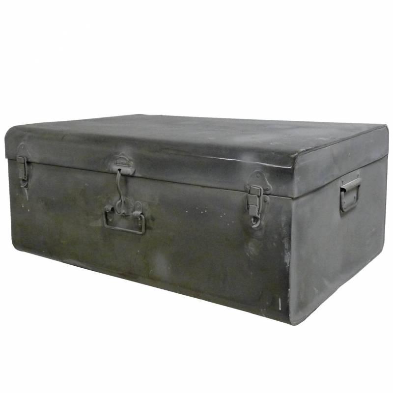 Cantine de rangement malle jouets coffre en zinc style ancien 29x47x66cm - Malle militaire bois ...