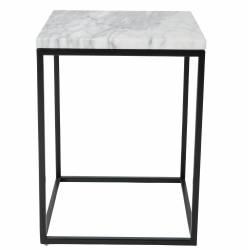 Table d'Appoint Power Zuiver Table Basse Carrée Marbre Blanc et Métal Noir 32x32x43cm