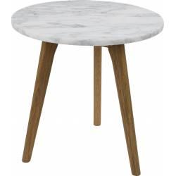Table Basse Ronde White Stone M Zuiver Table d'Appoint Marbre Blanc et Bois 40x40x40cm