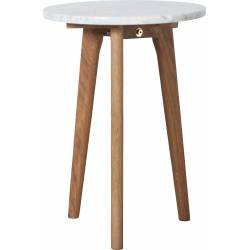 Table Basse Ronde White Stone S Zuiver Table d'Appoint Marbre Blanc et Bois 32x32x45