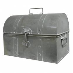 Coffre ou Malle Bombée de Rangement Caisse à Jouets à Outils Bar en Fer Style Zinc 23x30x36cm