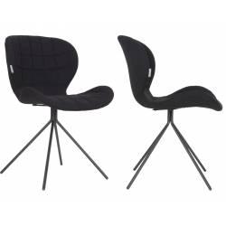 Lot de 2 Chaises Design OMG Zuiver Noir en Tissu 51x56x80cm
