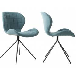 Lot de 2 Chaises Design OMG Zuiver Bleu en Tissu 51x56x80cm