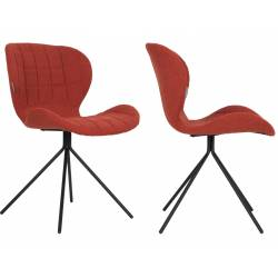 Lot de 2 Chaises Design OMG Zuiver Orange en Tissu 51x56x80cm