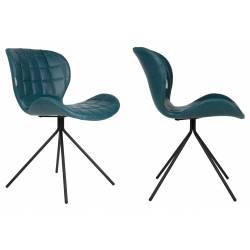 Lot de 2 Chaises Design OMG Zuiver Pétrole en Cuir PU 51x56x80cm