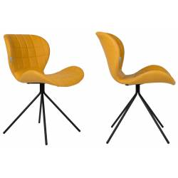 Lot de 2 Chaises Design OMG Zuiver Jaune en Cuir PU 51x56x80cm