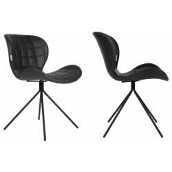 Lot de 2 Chaises Design OMG Zuiver Noir en Cuir PU 51x56x80cm