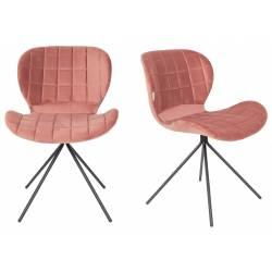 Lot de 2 Chaises Design OMG Zuiver Vieux Rose en Velours 51x56x80cm