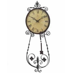 Horloge Murale Pendule à Balancier en Fer Forge Marron Café Des Marguerites 4x25x70cm