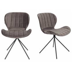 Lot de 2 Chaises Design OMG Zuiver Gris en Velours 51x56x80cm