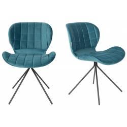Lot de 2 Chaises Design OMG Zuiver Pétrole en Velours 51x56x80cm