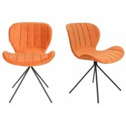 Lot de 2 Chaises Design OMG Zuiver Orange en Velours 51x56x80cm