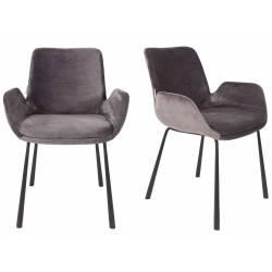 Lot de 2 Chaises Design Brit Zuiver Fauteuil Gris Foncé en Velours 59x62x79cm