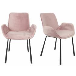 Lot de 2 Chaises Design Brit Zuiver Fauteuil Rose en Velours 59x62x79cm