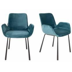 Lot de 2 Chaises Design Brit Zuiver Fauteuil Pétrole en Velours 59x62x79cm