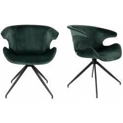 Lot de 2 Chaises Design Mia Zuiver Fauteuil Vert en Velours 62x63x78,5cm