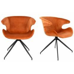 Lot de 2 Chaises Design Mia Zuiver Fauteuil Orange en Velours 62x63x78,5cm