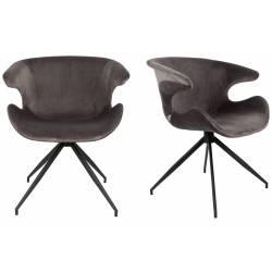 Lot de 2 Chaises Design Mia Zuiver Fauteuil Gris en Velours 62x63x78,5cm