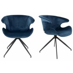 Lot de 2 Chaises Design Mia Zuiver Fauteuil Bleu en Velours 62x63x78,5cm