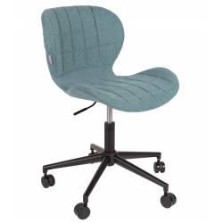 Chaise de Bureau Design OMG Zuiver Chaise Réglable Bleu en Tissu 65x65x88
