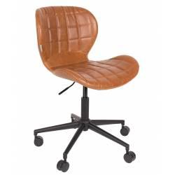 Chaise de Bureau Design OMG Zuiver Chaise Réglable Marron en Cuir PU 65x65x88