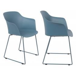 Lot de 2 Chaises Design Fauteuil de Table Tango Assise Woody en Acier et Plastique Bleu 54x58x81,5cm