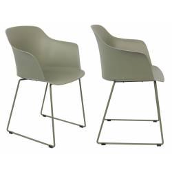 Lot de 2 Chaises Design Fauteuil de Table Tango Assise Woody en Acier et Plastique Vert 54x58x81,5cm