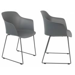 Lot de 2 Chaises Design Fauteuil de Table Tango Assise Woody en Acier et Plastique Gris 54x58x81,5cm